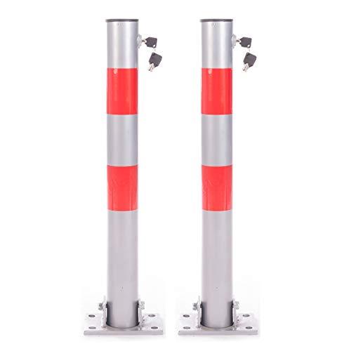 DXP Klappbare Parkpfosten Absperrpfosten Herausnehmbar Rund Parkplatzsperre mit Schlüssel (2 Stück)