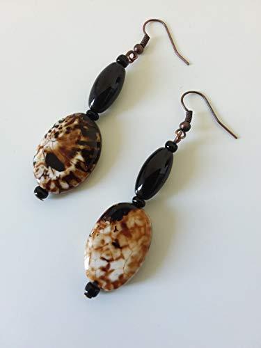 Große Ohrringe - lange ethnische Anhänger - braun, schwarz, weiß - handgemachte Geschenkidee für Frauen