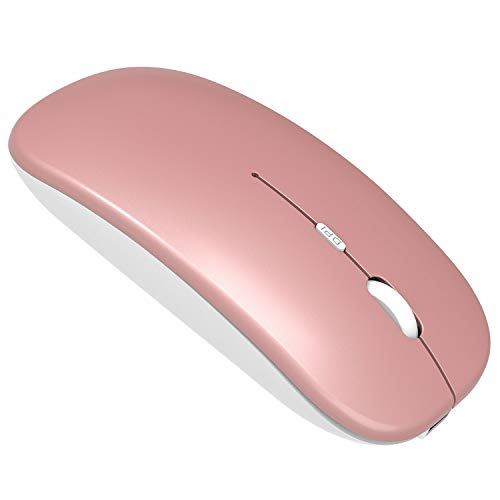 Wireless Mouse with Bluetooth and USB - Silent, Slim Computer Mouse with Quiet Click for iPad, Laptop, Notebook, PC and Mac (Rose Gold)