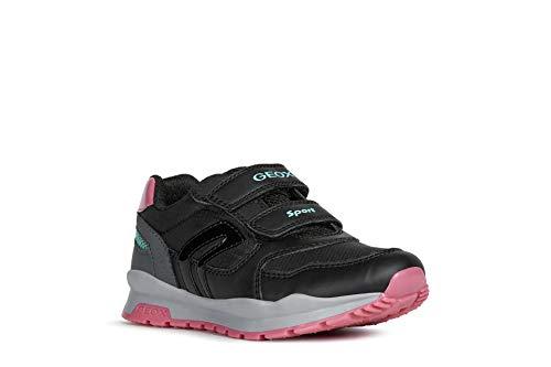 Geox Niñas Zapatillas Pavel Girl,Chica Bajo,Zapato bajo,Calzado Deportivo,Cierre de Velcro,Removable Insole,Black/DK Grey,25 EU/7.5 UK Child