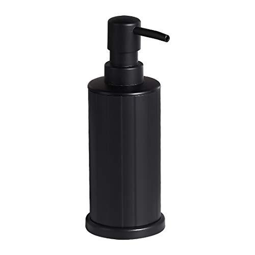 bgl Dispensador de jabón líquido, dispensador de jabón de manos de aluminio independiente, 250 ml, a prueba de óxido para baño y cocina (negro)