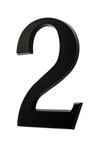 HUBER Hausnummer Nr. 2 Aluminium pulverbeschichtet anthrazit/schwarz 20 cm, edles dreidimensionales Design