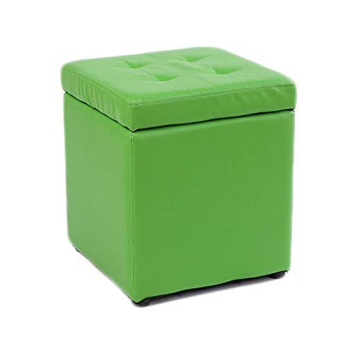 GCE Taburete de Almacenamiento pequeño reposapiés otomano de Cuero de PU Caja de Almacenamiento Taburete Rectangular con Asiento Acolchado Taburete bajo para sofá Verde