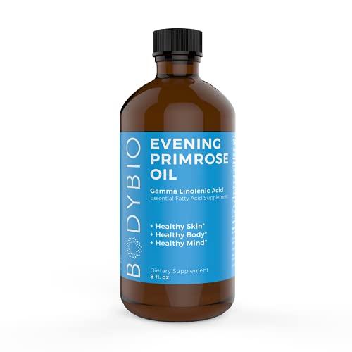 BodyBio Evening Primrose Oil - Natural Gamma Linolenic Acid for Healthy Skin & Hormone Balance - Non-GMO, Cold pressed - 8oz