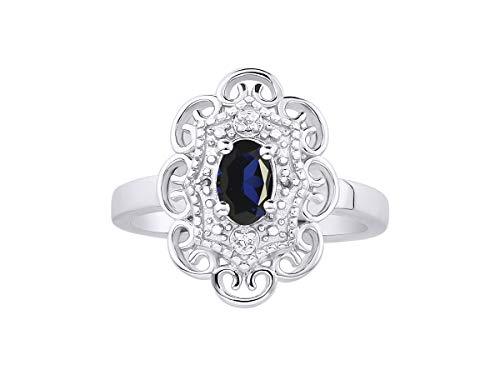 RYLOS Anillo para mujer con piedra preciosa ovalada y diamantes brillantes genuinos en oro blanco de 14 quilates – 6 x 4 mm