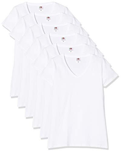 Fruit of the Loom Damen Lady-fit V-Neck Valueweight Tee, 5 Pack T-Shirt, Weiß (White 30), 32 (Herstellergröße: Small) (5er Pack)