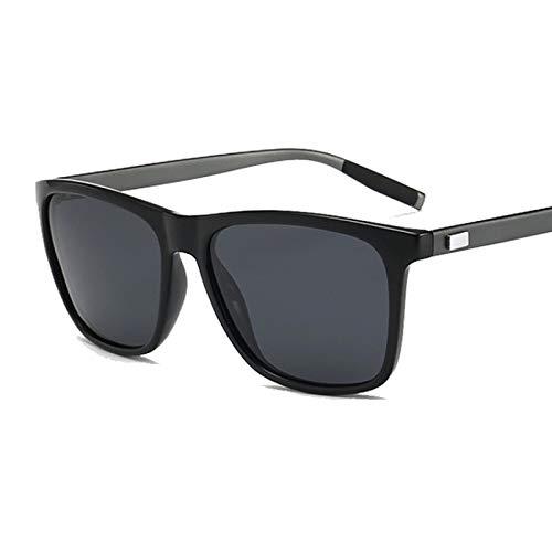 NJJX Gafas De Sol Polarizadas Negras Vintage Para Hombre, Gafas De Sol De Lujo Para Hombre, Mujer, Espejo Colorido, Conducción Al Aire Libre, Negro (Gunlegs)