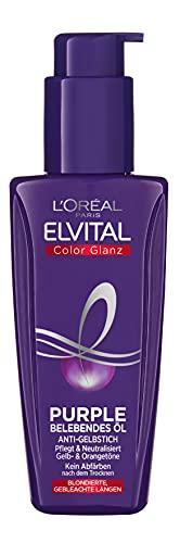 L\'Oréal Paris Elvital Haaröl für blondes, gesträhntes, graues Haar, Neutralisiert Gelbtöne, Color Glanz Purple Belebendes Öl gegen Gelbstich, 1 x 100 ml