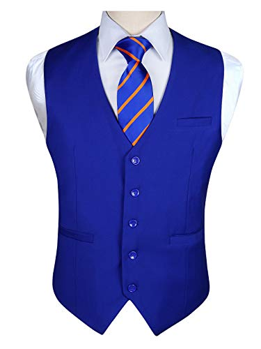Enlision Gilet de mariage en coton a manches courtes pour hommes en coton Bleu royal