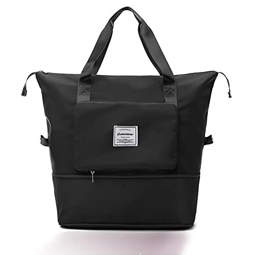 Bolsa de viaje plegable de gran capacidad, ligera, impermeable, plegable, para viajes, separación seca y húmeda, bolsa de deporte, bolsa de hombro, bolsa de viaje, Black,