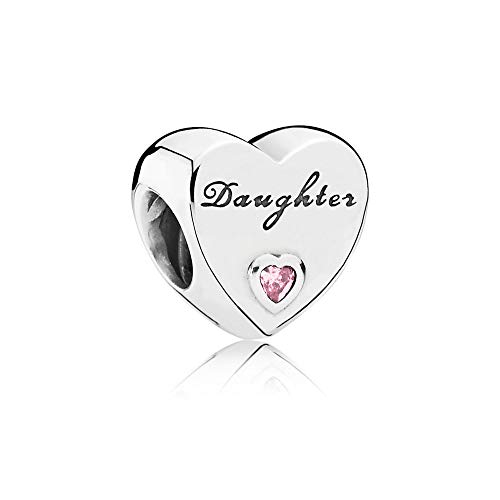FGT Family Daughter Charm for Bracelets Pink Crystal Bead Sterling Silver Heart Charm for Women Girls Birthday Gift