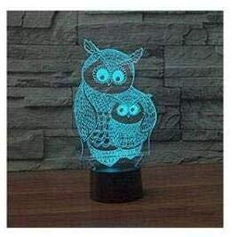 3D Die eule tier Optische Illusions-Lampen, Tolle 7 Farbwechsel Acryl berühren Tabelle Schreibtisch-Nachtlicht mit USB-Kabel für Kinder Schlafzimmer Geburtstagsgeschenke Geschenk