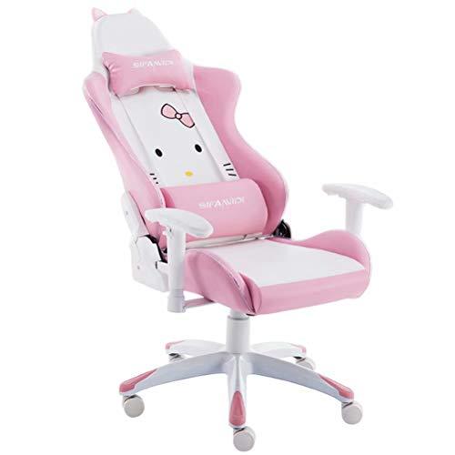 Gamingstoel Racestijl Hoge rug PU-leer Bureaustoel Computer Bureaustoel Executive Ergonomische stijl Draaistoel Hoofdsteun Lendensteun (roze)