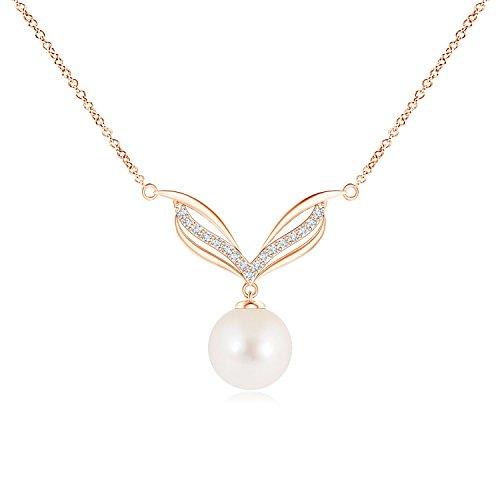 ANGARA Collar de Perlas cultivadas en Agua Dulce con alas de ángel para Mujer con Diamantes