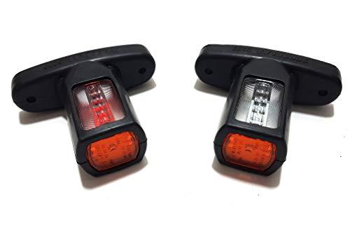 2 x 12 V 24 V LED-Seitenmarkierungsleuchten hinten Umrissleuchten mit Gummi-Arm weiß orange rot wasserdicht E-Prüfzeichen