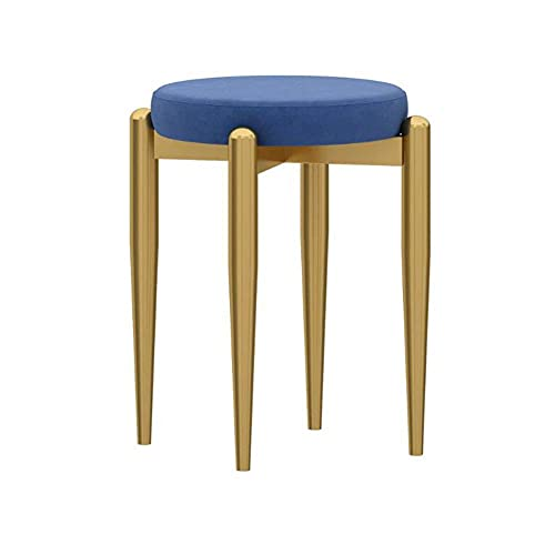 WSDSX Furniture Dining Chair, Home Makeup Stool, Comfortable Conference Reception Chair, Iron Small Apartment Cute Dressing Stool, for Living Room, Bedroom, Office,Blue,41x44cm