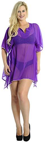 LA LEELA Strandkleid Damen Strandkleider Damen Sommer Bikini Badeanzug Cover Up Strandponcho Beachtime Strandkleid Damen Strandurlaub Violett_N161 DE Größe: 32 (XS) - 44 (L)