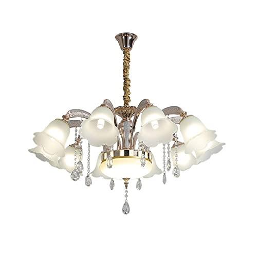 Lujoso Vintage Lámparas De Araña,Ajustable Moderno Elegante Lámpara Colgante De Techo E27 Vidrio Industrial Luz Colgante Para Sala De Estar Comedor Cormitorio-Dorado 95 * 50cm
