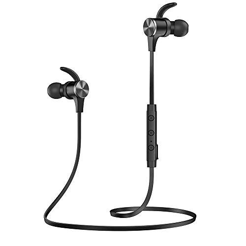 TaoTronics [2019 Upgrade] audífonos magnéticos inalámbricos 5.0, Ajuste cómodo para Deportes con micrófono Integrado CVC 8.0 TT-BH07 (IPX6 Resistente al Agua, aptX Stereo, 9 Horas de reproducción)