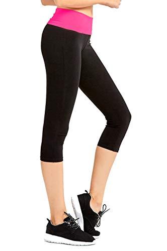 Hollywood Star Fashion Damskie spodnie do jogi wyszczuplające foldover Capri Crop