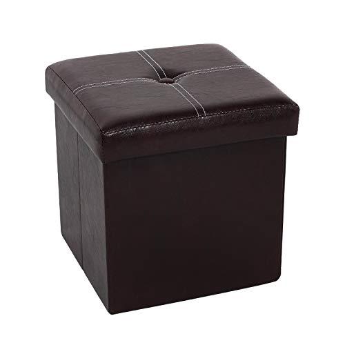 Bonlife Sitzhocker Mit Stauraum Sitzbank Faltbar Buecher Aufbewahrungsbox Klein Sitz Box Faltbox mit Deckel 30 x 30 X 30CM (Braun-1)