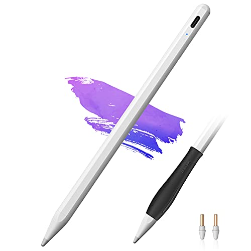 """CaseBot Stylus Pen for iPad (2018-2021) - Active Pencil with Palm Rejection, Compatible with iPad Pro (11/12.9""""), iPad 6/7/8th Gen, iPad Air 3rd/4th Gen, iPad Mini 5th for Writing, Drawing, White"""