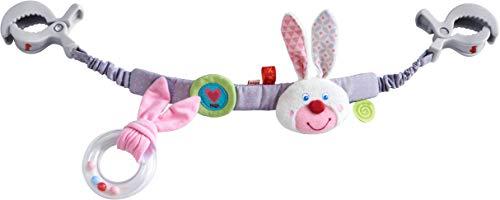 HABA 304772 - Kinderwagenkette Funkelherz, Kinderwagen-Zubehör mit Rasselring und Häschen-Motiv, Baby-Spielzeug ab 0 Monaten