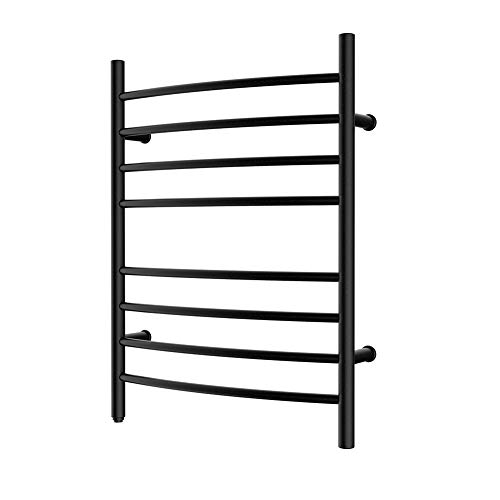 HEATGENE Towel Warmer 8 Bar Plug-in Curved Bath Towel Heater Black