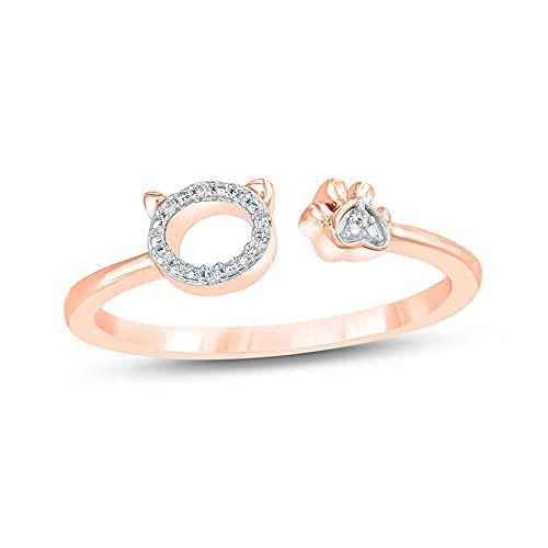 Ani's 1/9CTW Anello aperto a forma di Sim di diamante bianco accento gatto e zampa per le donne in argento 925 placcato oro rosa 14 K