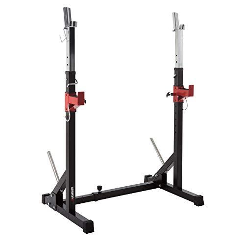 HAMMER Langhantelablage Core 2.0, platzsparende Trainingsstation, Flexible Verstellung, 2 Hantelscheiben-Halterungen, Gewichtsbelastung 120 kg, 68 x 77 x 117 cm