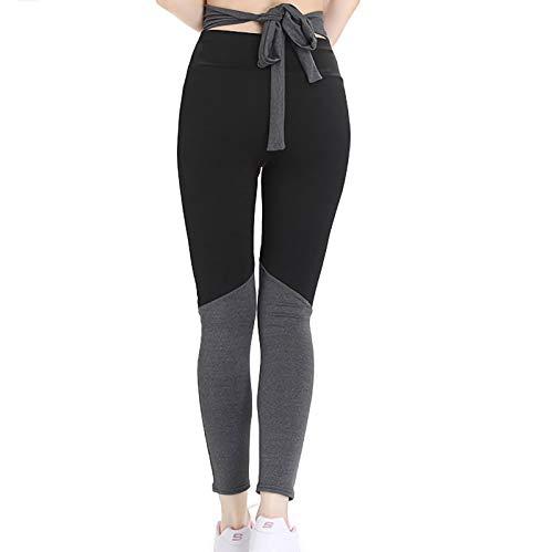 VESNIBA Pantalones de deporte para mujer, de algodón, cintura alta, con rayas, cintura elástica, para yoga, correr, con lazos, bloques de colores gris XL