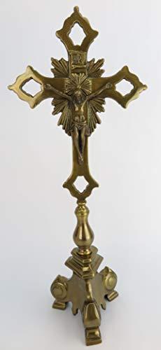 Clever-Deko Cruz de Altar, Cruz de pie, Cruz, Crucifijo de latón bruñido, Cruz de Mesa INRI Jesús en la Cruz