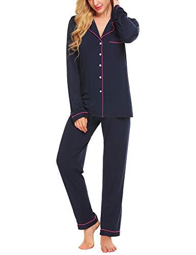 Lucyme Damen Pyjamas Set Elegant Modal Langarm Schlafanzug mit Knopfleiste Zweiteiliger Lang Nachtwäsche Sleepwear XS-XXL, Dunkelblau 337, EU 40(Herstellergröße: M)