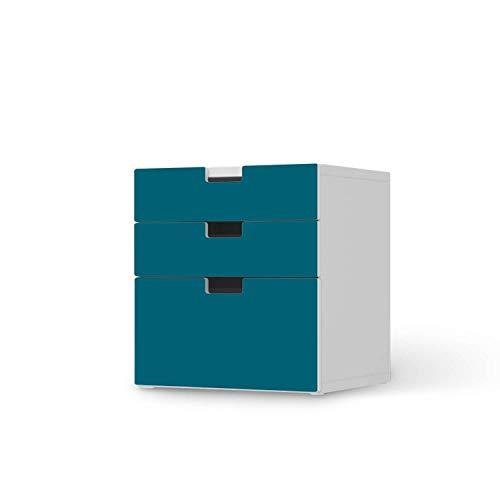creatisto Möbel-Tattoo für Kinder - passend für IKEA Stuva Kommode - 3 Schubladen (Kombination 1) I Tolle Möbelfolie für Kinder-Möbel Deko I Design: Türkisgrün Dark