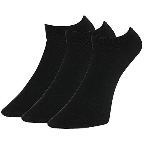 Lotto 3 Paar Low Cut Socken Sneaker Socken Gr. 35-46 Unisex Kurzsocke Füßlinge schwarz, Farbe:Schwarz, Socken und Strümpfe:39-42