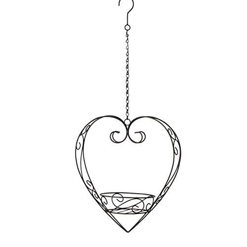 CasaJame Fioriera a Forma di Cuore - Portavaso da Appendere al Soffitto - Metallo Stile Shabby Chic Vintage 35x18x33cm