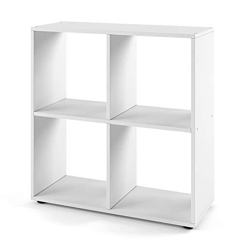Vicco Bücherregal Tetra 4 Fächer Raumteiler Standregal Aktenregal Aufbewahrung (Weiß)
