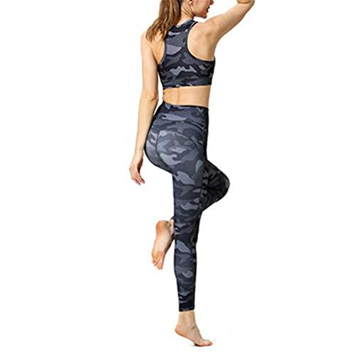 Mujer Conjunto Ropa Fitness Deportiva, Entrenamiento de la mujer Conjunto de 2 piezas Trajes de talle alto flaco flexión de la energía de la yoga polainas Scoop sujetador de los deportes de Cultivos T