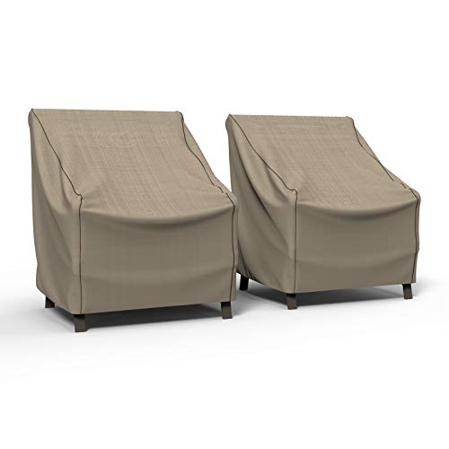 Budge P1W01PM1-2PK English Garden Patio Chair Cover (2 Pack) Heavy Duty and Waterproof, Medium (2-Pack), Tan Tweed