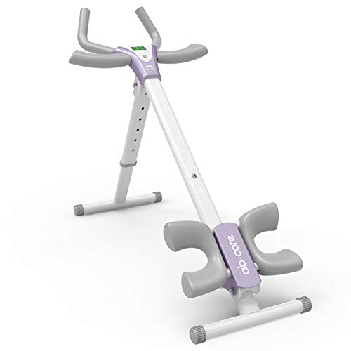 leikefitness Height Adjustable Ab Trainer Abdominal Whole Body Workout Machine Waist Cruncher Core Toner Leg Thighs Buttocks Shaper with LCD Monitor AB9380 (White)