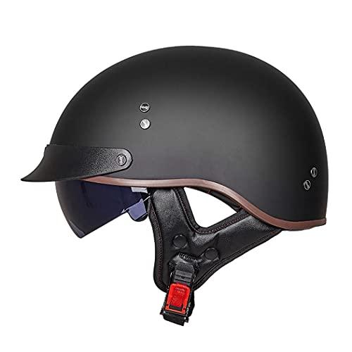 Motorradhelm Halbhelme ECE-Zertifizierter Brain-Cap · Halbschale Motorrad Helm Scooter-Helm Jet-Helm Motorrad Half Helm Offener Helm mit Brille für Roller Biker M-XXL (57~64CM)