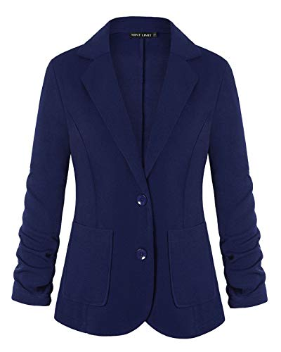 Womens 3/4 Sleeve Lightweight Office Work Suit Jacket Boyfriend Blazer (Navy Blue,L)