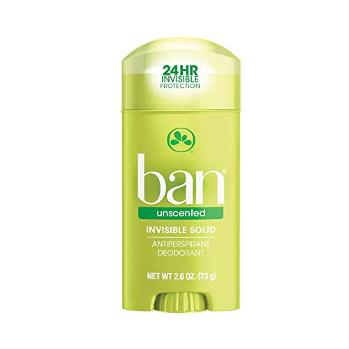 Ban Original 24hour Invisible Antiperspirant Solid Deodorant for Women and Men Underarm Wetness Protection with Odorfighting Ingredients, Unscented, Unscented, 2.6 Ounce