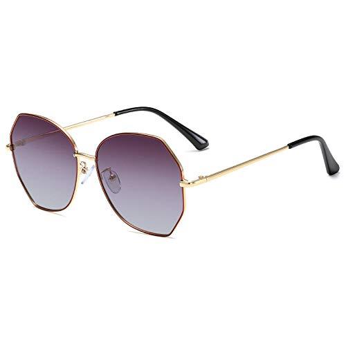 Gosunfly Gafas de sol para mujer Gafas de sol con visera solar-Marco de oro negro en la parte superior de color púrpura y en la parte inferior con luz polarizada amarilla