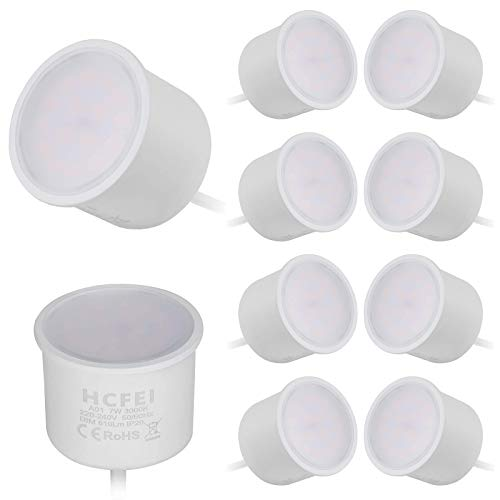 HCFEI 10x LED-Modul flach 230V 7W für Einbaustrahler 610lm 120°warmweiß 3000K, GU10 MR16 Strahler Ersatz,Ø 50mm,step-dimmbar