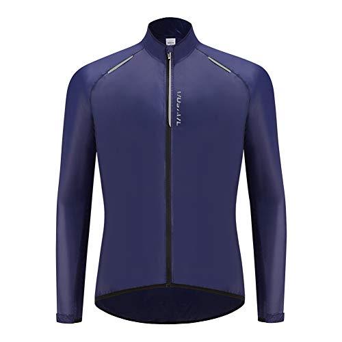 Chaqueta Impermeable de Ciclismo Hombre Chaleco Resistente Al Viento Abrigo Agua Ropa Deportiva Transpirable para Exteriores Protección UV (Blue,XXXL)