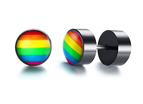 PJ Rainbow Flag Lesbian Gay Pride Cheater Fake Gauge Plugs Stud Earrings in Stainless Steel