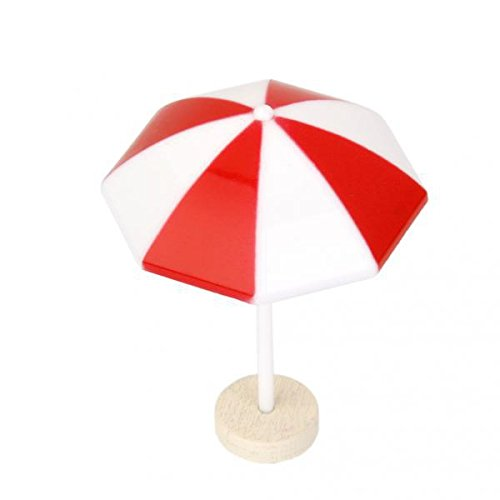 Fenteer 1x Red Beach Sun Umbrella Miniatura PVC