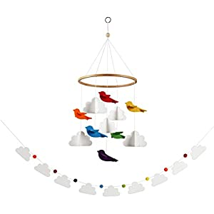 Sorrel + Fern Baby Crib Mobile Rainbow Birds in The Clouds Nursery Decoration w/Garland (Short Version)
