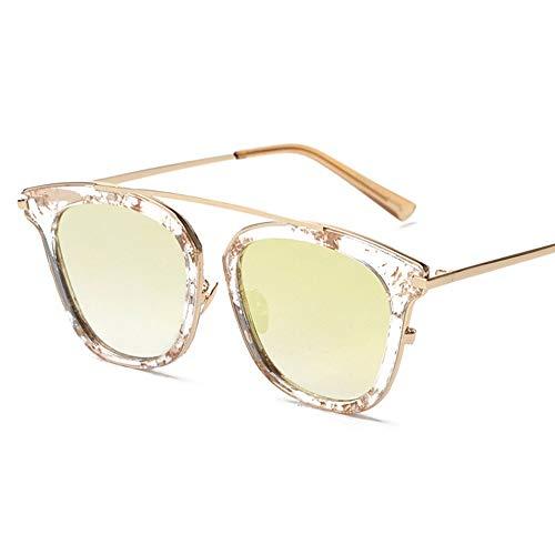 WHSS Sunglasses Personalidad Retro Cara Redonda Gafas De Sol Gafas De Sol Conduciendo Europa Y América Gafas De Sol Retro Gafas Gafas De Sol (Color : Yellow)